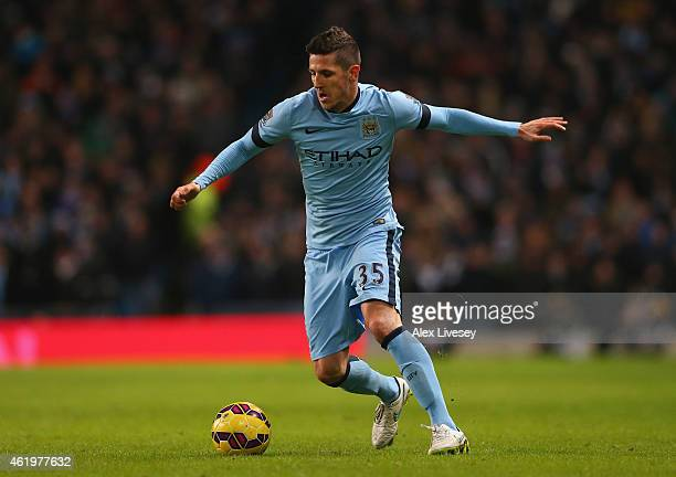 Stevan Jovetic of Manchester City during the Barclays Premier League match between Manchester City and Arsenal at Etihad Stadium on January 18 2015...