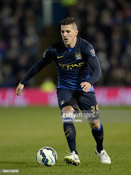 Stevan Jovetic of Manchester City during the Barclays Premier League match between Burnley and Manchester City at Turf Moor on March 14 2015 in...