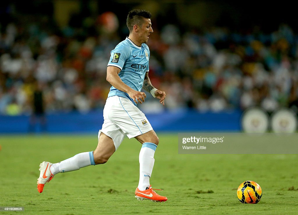 Stevan Jovetic of Manchester City in action during the friendly match between Al Ain and Manchester City at Hazza bin Zayed Stadium on May 15, 2014 in Al Ain, United Arab Emirates.