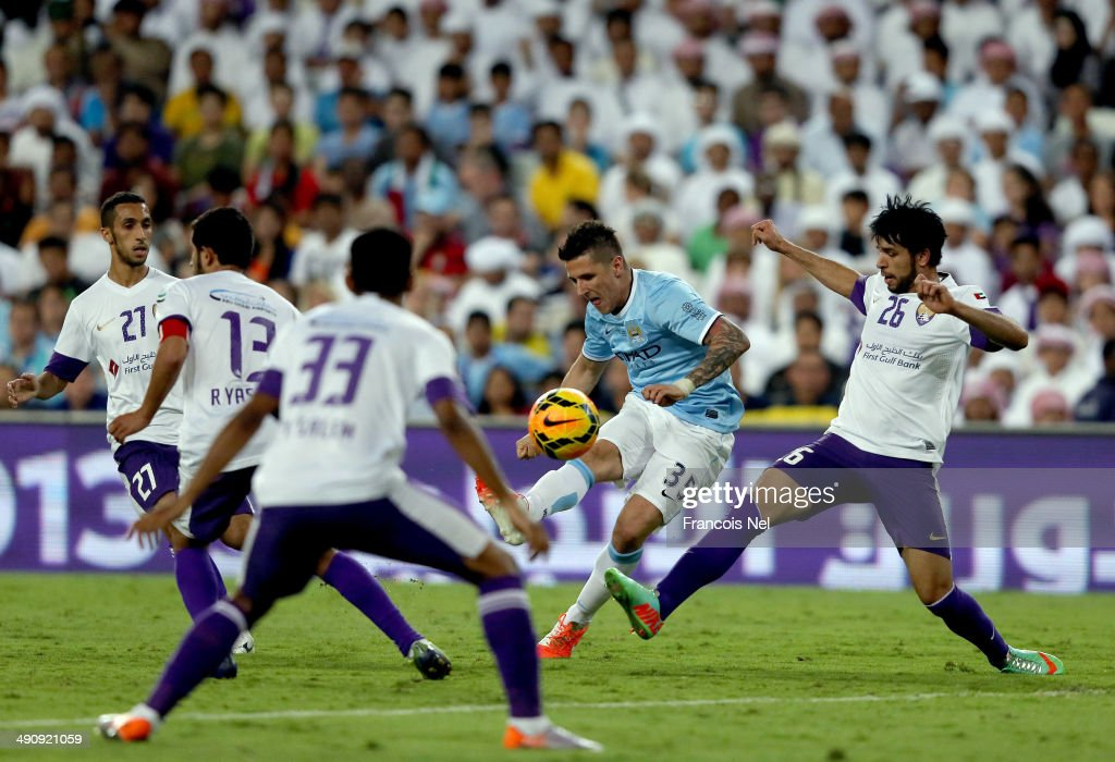 Stevan Jovetic of Manchester City takes a shot on goal during the friendly match between Al Ain and Manchester City at Hazza bin Zayed Stadium on May 15, 2014 in Al Ain, United Arab Emirates.