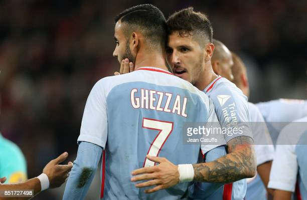 Stevan Jovetic of Monaco celebrates his goal with Rachid Ghezzal during the French Ligue 1 match between Lille OSC and AS Monaco at Stade Pierre...