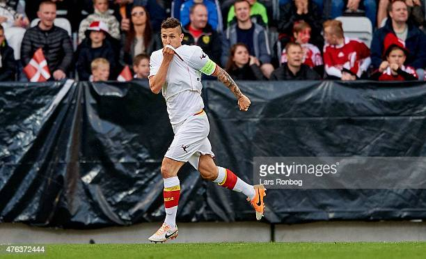 Stevan Jovetic of Montenegro celebrates after scoring their first goal during the International Friendly match between Denmark and Montenegro at...