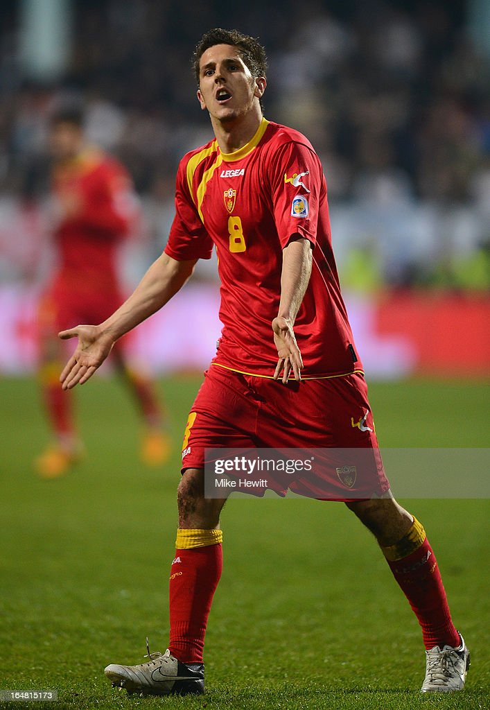 Stevan Jovetic of Montenegro in action during the FIFA 2014 World Cup Group H Qualifier between Montenegro and England at City Stadium on March 26, 2013 in Podgorica, Montenegro.