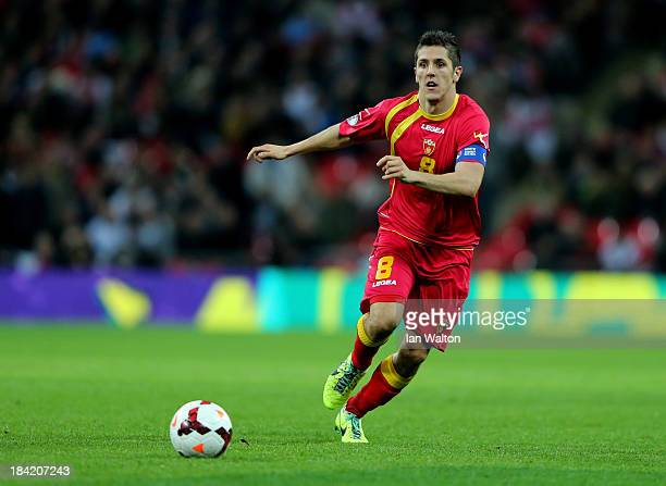 Stevan Jovetic of Montenegro in action during the FIFA 2014 World Cup Qualifying Group H match between England and Montenegro at Wembley Stadium on...