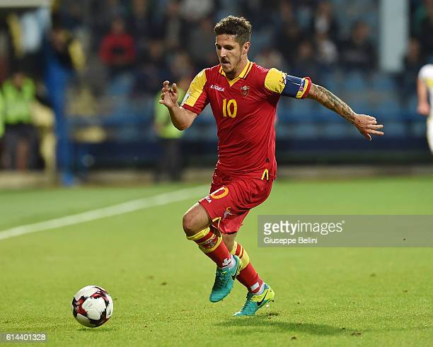 Stevan Jovetic of Montenegro in action during the FIFA 2018 World Cup Qualifier between Montenegro and Kazakhstan at Podgorica City Stadium on...