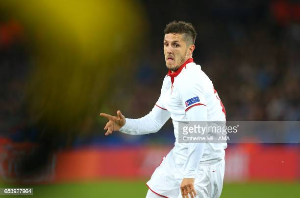 Stevan Jovetic of Sevilla during the UEFA Champions League Round of 16 second leg match between Leicester City and Sevilla FC at The King Power...