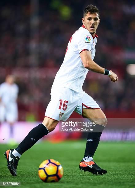 Stevan Jovetic of Sevilla FC in action during the La Liga match between Sevilla FC and Athletic Club de Bilbao at Estadio Ramon Sanchez Pizjuan on...