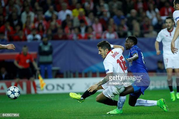 Stevan Jovetic of Sevilla FC in action during the UEFA Champions League Round of 16 First Leg between Sevilla FC and Leicester City at Estadio Ramon...