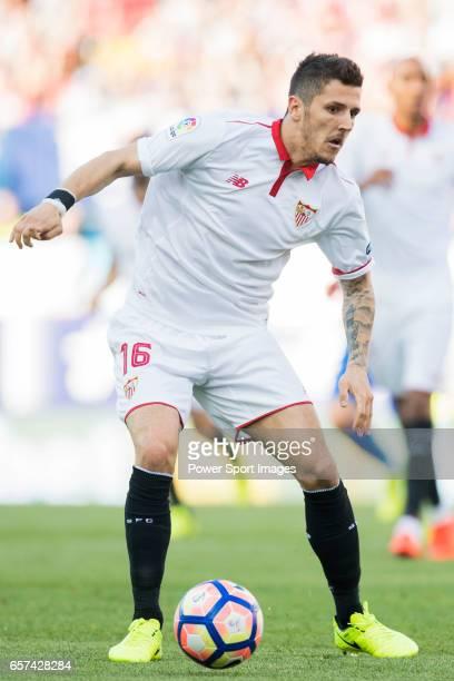 Stevan Jovetic of Sevilla FC in action during their La Liga match between Atletico de Madrid and Sevilla FC at the Estadio Vicente Calderon on 19...