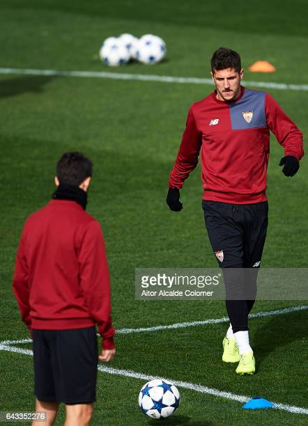 Stevan Jovetic of Sevilla FC in action during their training session prior to their match of Champions League Round of 16 1st Leg against Leicester...