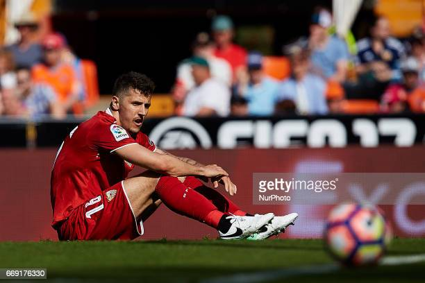 Stevan Jovetic of Sevilla FC reacts on the pitch during the La Liga match between Valencia CF and Sevilla FC at Mestalla stadium on April 16 2017 in...
