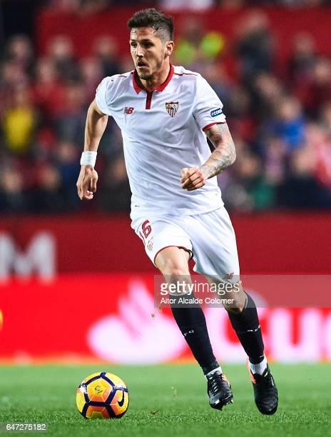 Stevan Jovetic of Sevilla FCin action during the La Liga match between Sevilla FC and Athletic Club de Bilbao at Estadio Ramon Sanchez Pizjuan on...