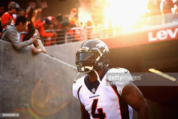 Stevan Ridley of the Denver Broncos runs on to the field to warm up for their game against the San Francisco 49ers at Levi's Stadium on August 19...