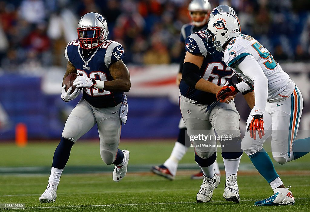 Stevan Ridley #22 of the New England Patriots runs with the ball against the Miami Dolphins during the game at Gillette Stadium on December 30, 2012 in Foxboro, Massachusetts.