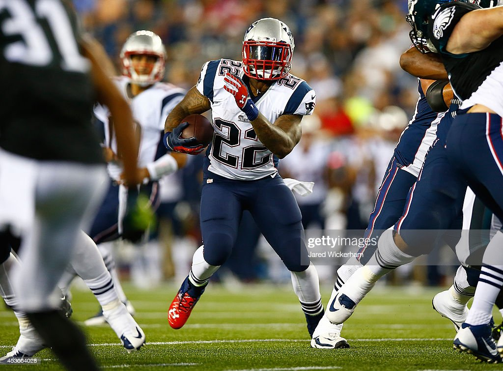<a gi-track='captionPersonalityLinkClicked' href=/galleries/search?phrase=Stevan+Ridley&family=editorial&specificpeople=4674104 ng-click='$event.stopPropagation()'>Stevan Ridley</a> #22 of the New England Patriots runs with the ball in the first half against the Philadelphia Eagles during the preseason game at Gillette Stadium on August 15, 2014 in Foxboro, Massachusetts.