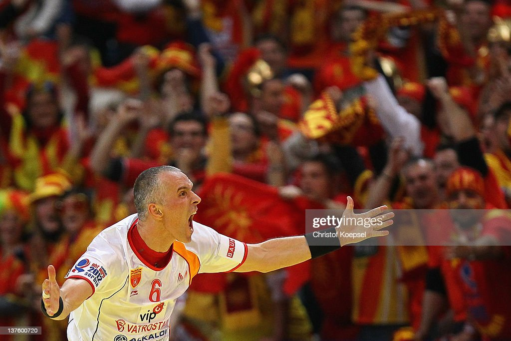 Stevche Alushovski of Macedonia ccelebrates a goal during the Men's European Handball Championship second round group one match between Poland and Macedonia at Beogradska Arena on January 23, 2012 in Belgrade, Serbia.