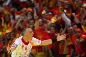 Stevche Alushovski of Macedonia ccelebrates a goal during the Men's European Handball Championship second round group one match between Poland and...