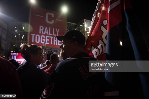 Steve Adams of Cleveland stands outside of Progressive Field prior to game 6 of the World Series between the Cleveland Indians and the Chicago Cubs...
