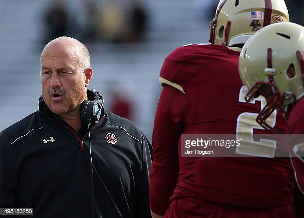 Steve Addazio of the Boston College Eagles reacts in the second half against the Virginia Tech Hokies at Alumni Stadium on October 31 2015 in...