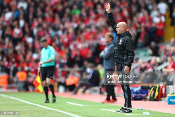 Steve Agnew caretaker manager / head coach of Middlesbrough during the Premier League match between Liverpool and Middlesbrough at Anfield on May 21...