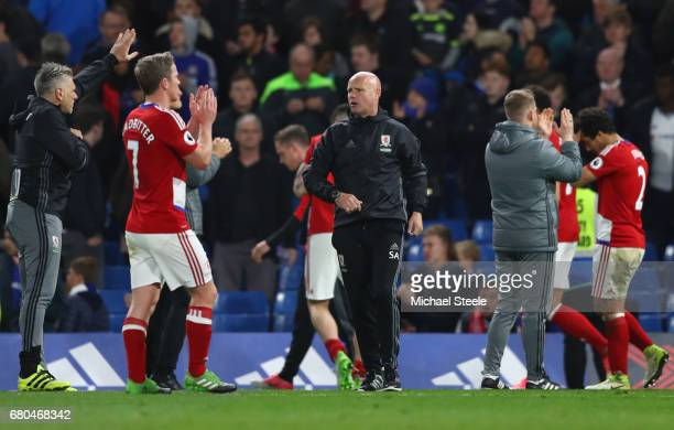 Steve Agnew caretaker manager of Middlesbrough and his team applaud supporters during the Premier League match between Chelsea and Middlesbrough at...
