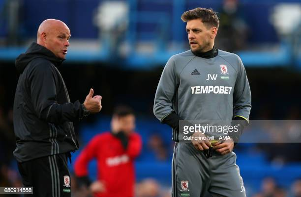 Steve Agnew caretaker manager of Middlesbrough and Jonathan Woodgate assistant coach of Middlesbrough during the Premier League match between Chelsea...