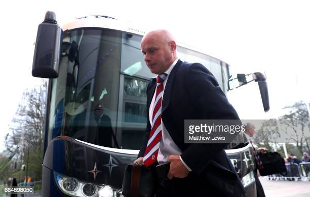Steve Agnew caretaker manager of Middlesbrough arrives at the stadium prior to the Premier League match between Hull City and Middlesbrough at the...