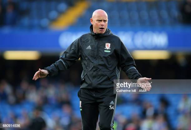 Steve Agnew caretaker manager of Middlesbrough during the Premier League match between Chelsea and Middlesbrough at Stamford Bridge on May 8 2017 in...