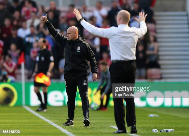 Steve Agnew caretaker manager of Middlesbrough gives his team instructions during the Premier League match between Middlesbrough and Burnley at...