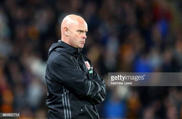 Steve Agnew caretaker manager of Middlesbrough looks on during the Premier League match between Hull City and Middlesbrough at the KCOM Stadium on...
