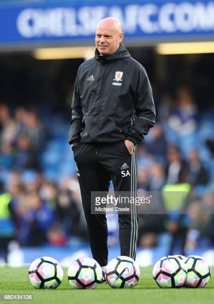 Steve Agnew caretaker manager of Middlesbrough looks on prior to the Premier League match between Chelsea and Middlesbrough at Stamford Bridge on May...