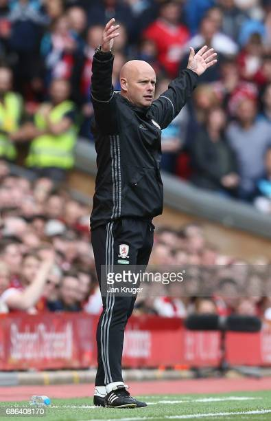 Steve Agnew caretaker manager of Middlesbrough reacts during the Premier League match between Liverpool and Middlesbrough at Anfield on May 21 2017...
