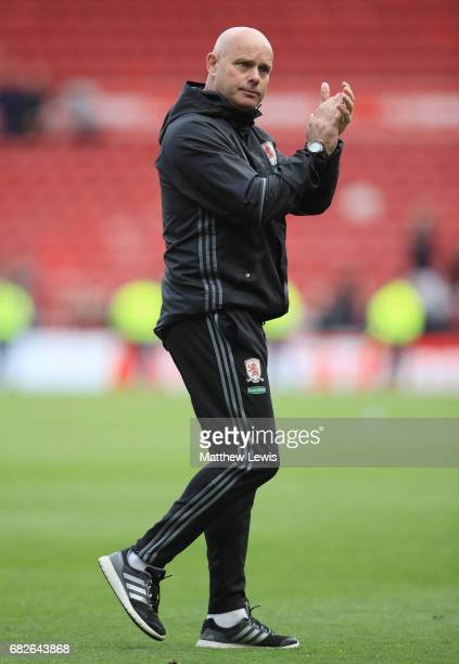 Steve Agnew caretaker manager of Middlesbrough shows appreciation to the fans after the Premier League match between Middlesbrough and Southampton at...