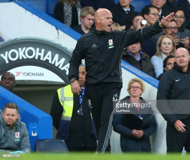 Steve Agnew manager of Middlesbrough during Premier League match between Chelsea and Middlesbrough at Stamford Bridge London England on 08 May 2017