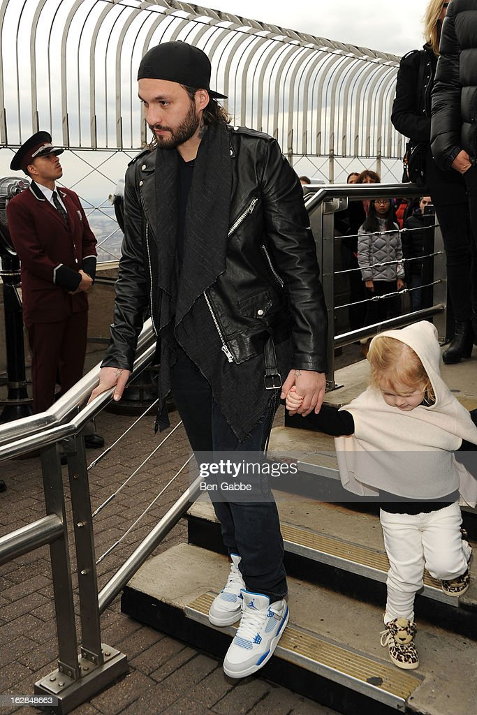 Steve Angello of the Swedish House Mafia lights The Empire State Building on February 28, 2013 in New York City.