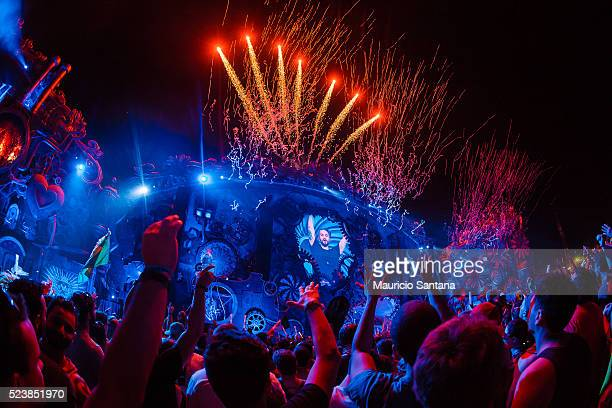 Steve Angello performs live on stage during the third day of the Tomorrowland music festival at Parque Maeda Itu on April 23 2016 in Sao Paulo Brazil