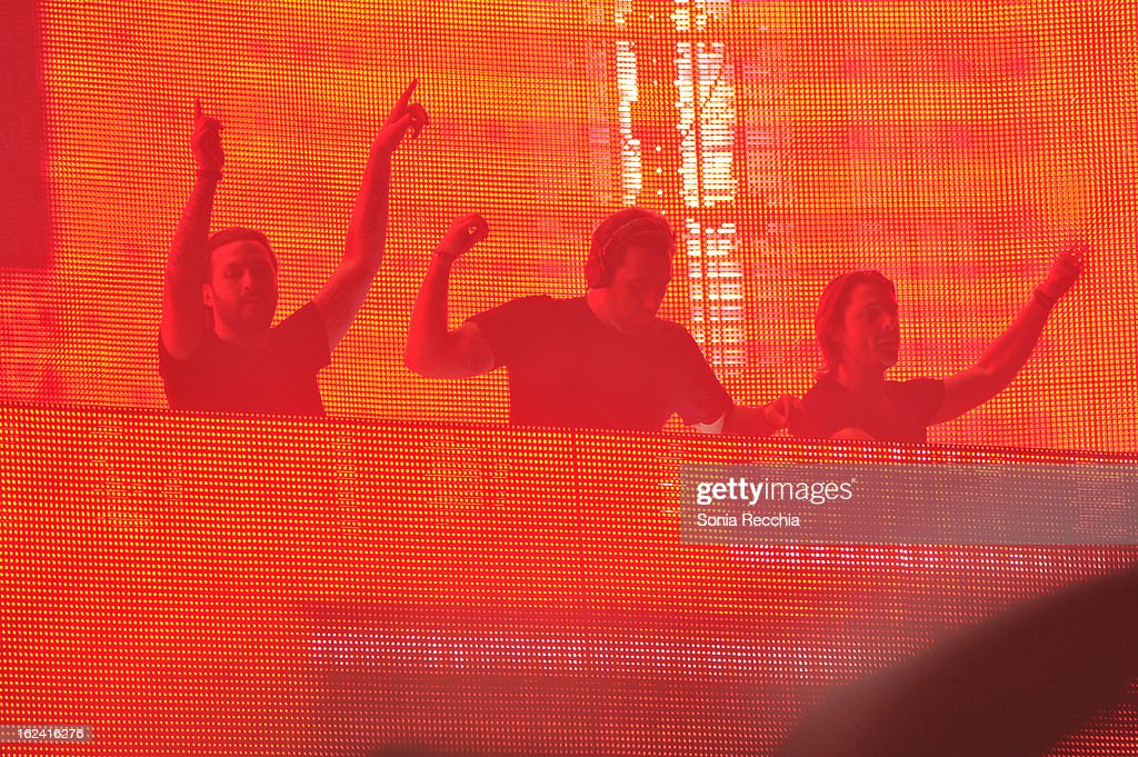 Steve Angello, Sebastian Ingrosso and <a gi-track='captionPersonalityLinkClicked' href=/galleries/search?phrase=Axwell&family=editorial&specificpeople=5989822 ng-click='$event.stopPropagation()'>Axwell</a> of Swedish House Mafia in concert at the Rogers Centre on February 22, 2013 in Toronto, Canada.