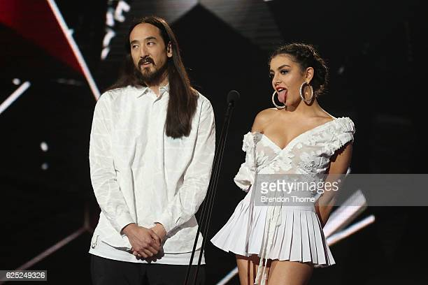 Steve Aoki and Charli XCX present on stage during the 30th Annual ARIA Awards 2016 at The Star on November 23 2016 in Sydney Australia