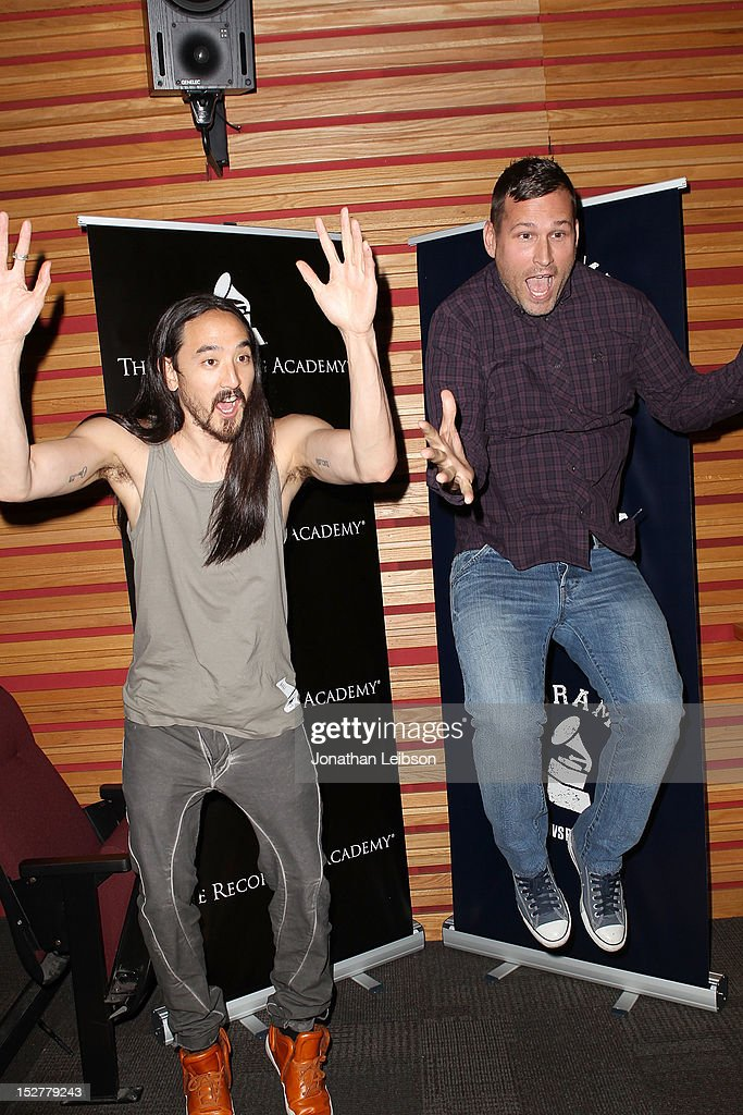Steve Aoki and Kaskade attend the GRAMMY U Los Angeles Presents Up Close And Personal With Steve Aoki And Kaskade at Los Angeles Film School on September 25, 2012 in Los Angeles, California.