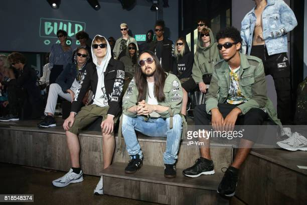 Steve Aoki and models attend the Steve Aoki and BUILD Series DIM MAK Collection SS18 'PARADISE FOUND' runway show and 'KOLONY' album release event at...