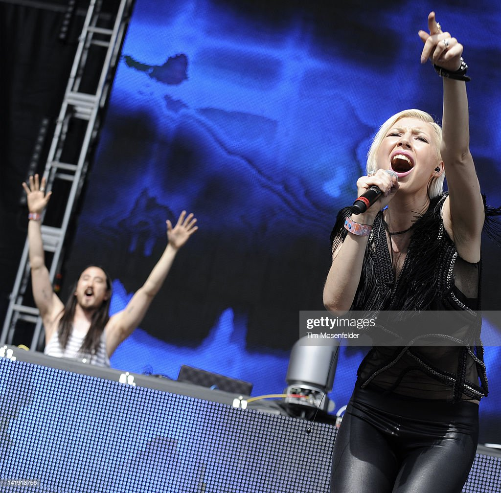 Steve Aoki (L) and Paulina perform as part of Day Three of Ultra Music Festival 14 at Bayfront Park on March 25, 2012 in Miami, Florida.