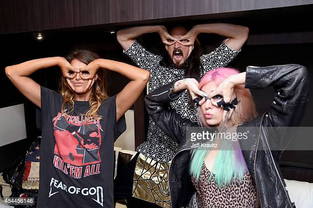 DJ Steve Aoki and recording artist Bonnie McKee attend day 2 of the 2014 Budweiser Made in America Festival at Los Angeles Grand Park on August 31...