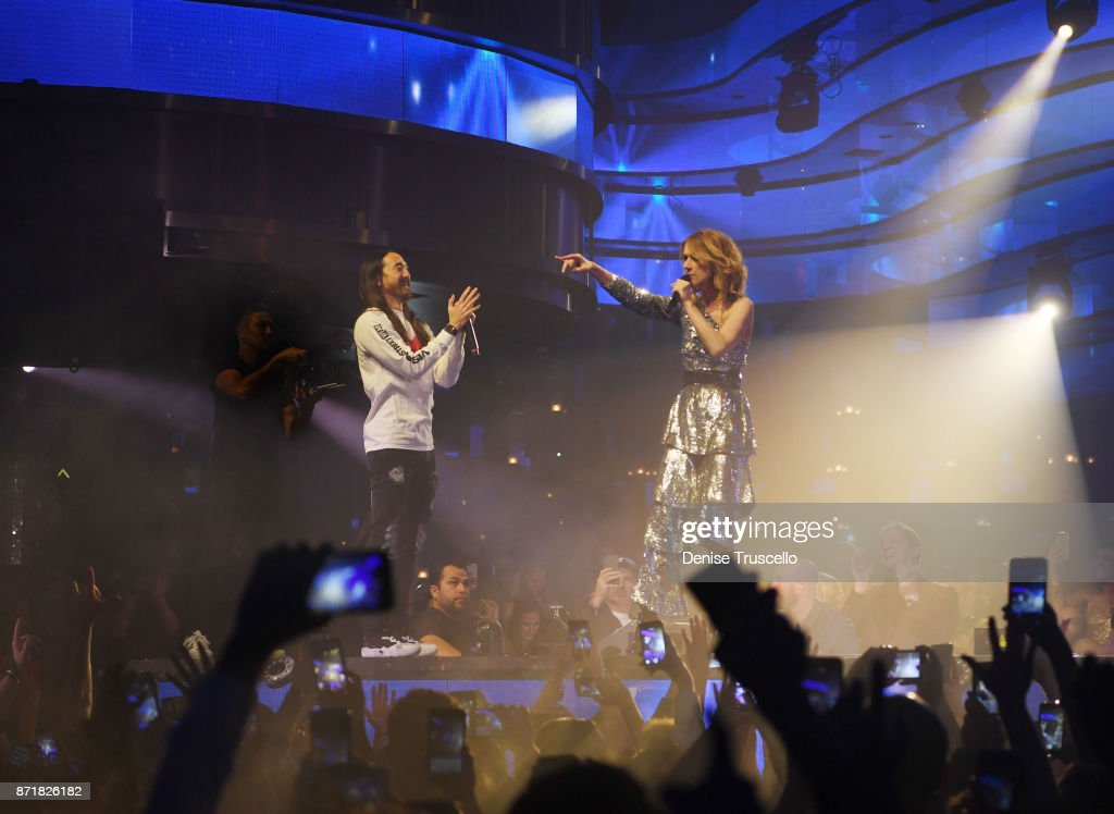 DJ Steve Aoki and singer Celine Dion during a concert benefitting the Las Vegas Victims Fund. The benefit raised over 1 million dollars at OMNIA Nightclub in Caesars Palace on November 8, 2017 in Las Vegas, Nevada.