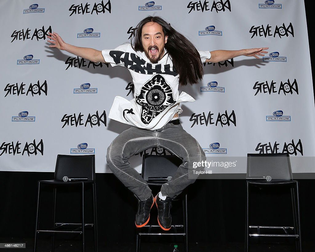 DJ <a gi-track='captionPersonalityLinkClicked' href=/galleries/search?phrase=Steve+Aoki&family=editorial&specificpeople=732001 ng-click='$event.stopPropagation()'>Steve Aoki</a> announces a new album, a headlining performance at Madison Square Garden, and a Bud Light Platinum partnership on April 22, 2014 in New York City.