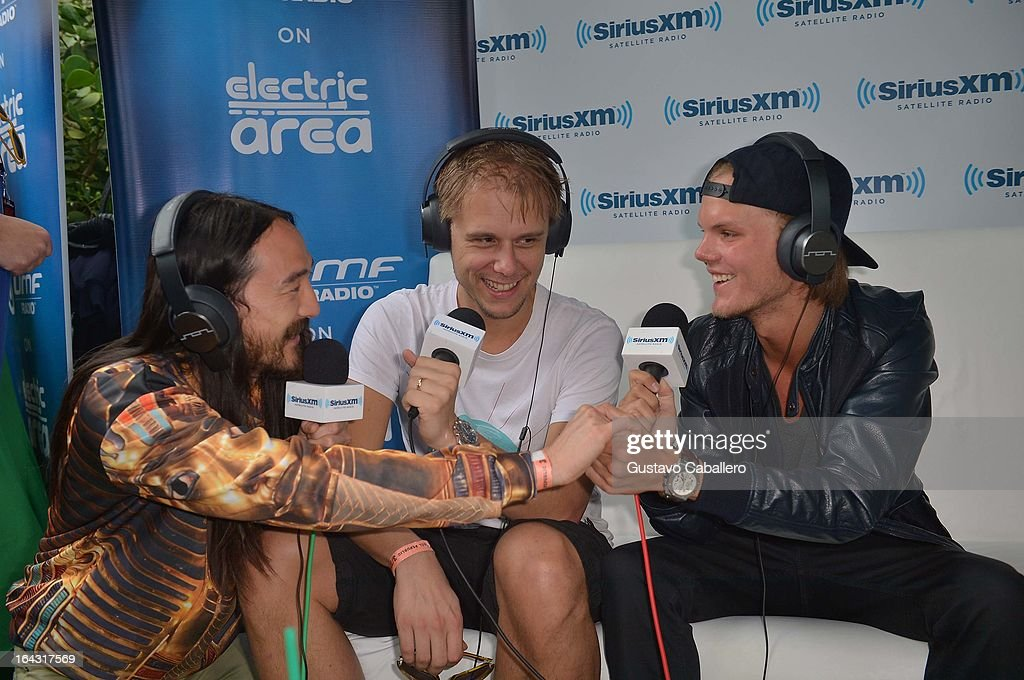 Steve Aoki, Armin van Buuren, and Avicii are interviewed on SiriusXM's 'UMF Radio' at the SiriusXM Music Lounge at the W Hotel on March 22, 2013 in Miami, Florida.