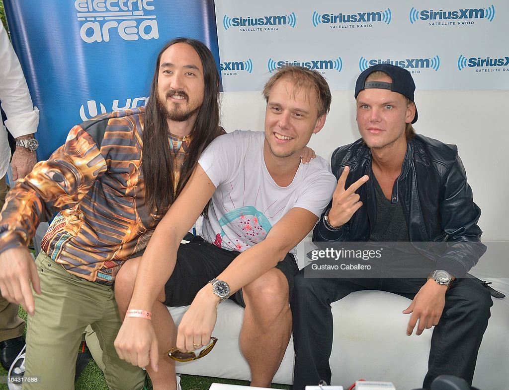Steve Aoki, Armin van Buuren, and Avicii visit the SiriusXM Music Lounge at W Hotel on March 22, 2013 in Miami, Florida.