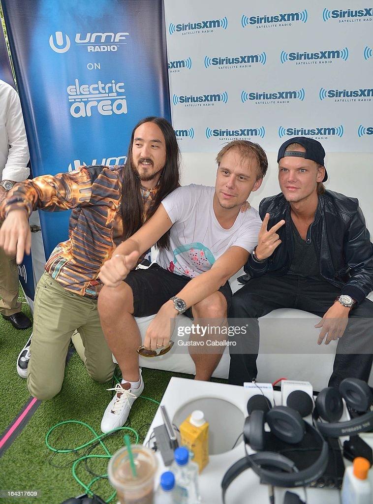 Steve Aoki, Armin van Buuren, and Avicii visit the SiriusXM Music Lounge at W Hotel on March 22, 2013 in Miami, Florida.