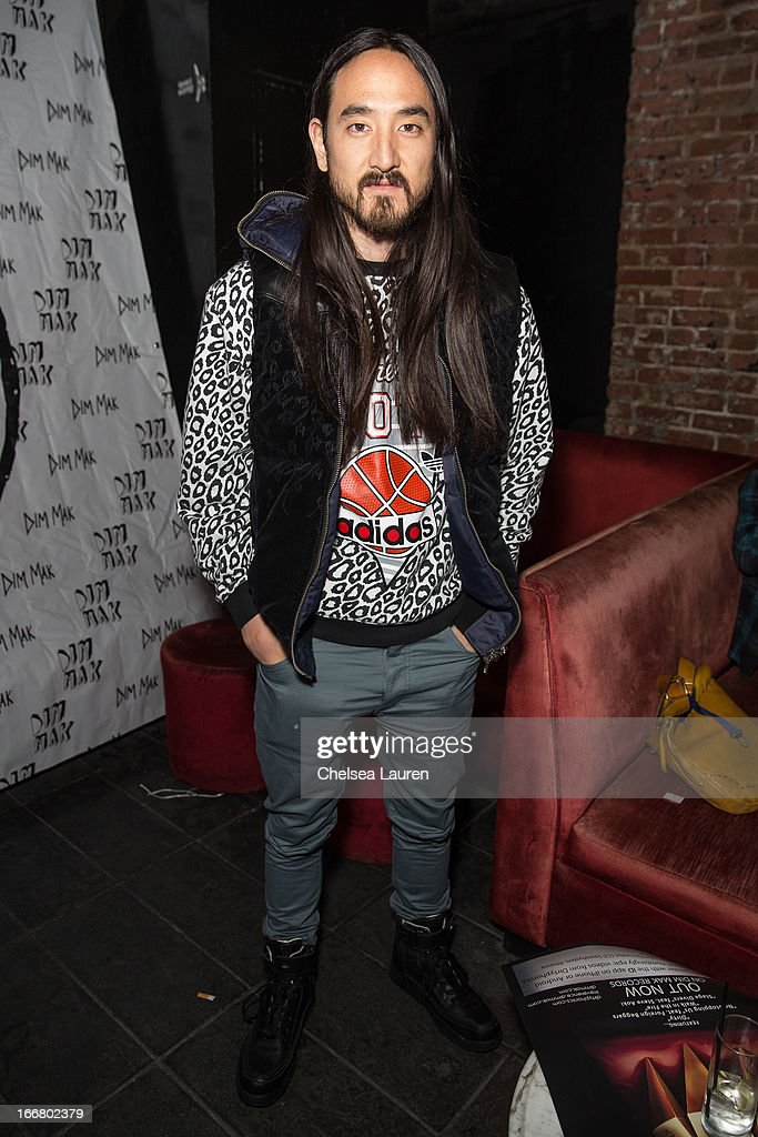 DJ Steve Aoki attends the Dirtyphonics private press meet & greet and listening of new album 'Irreverence' at Dim Mak Studios on April 16, 2013 in Hollywood, California.