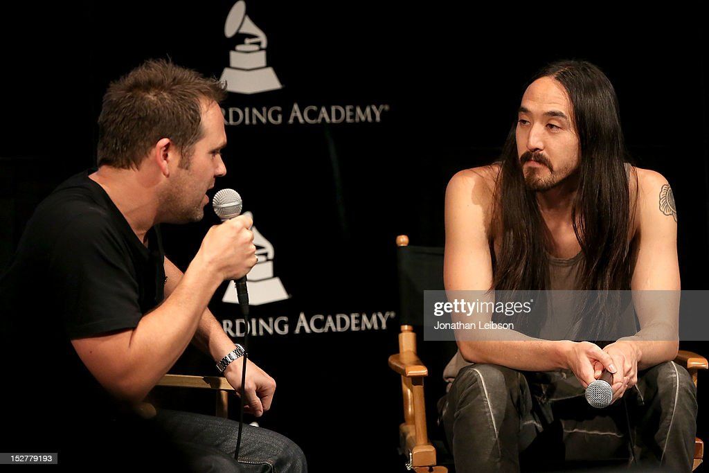 Steve Aoki (R) attends the GRAMMY U Los Angeles Presents Up Close And Personal With Steve Aoki And Kaskade at Los Angeles Film School on September 25, 2012 in Los Angeles, California.