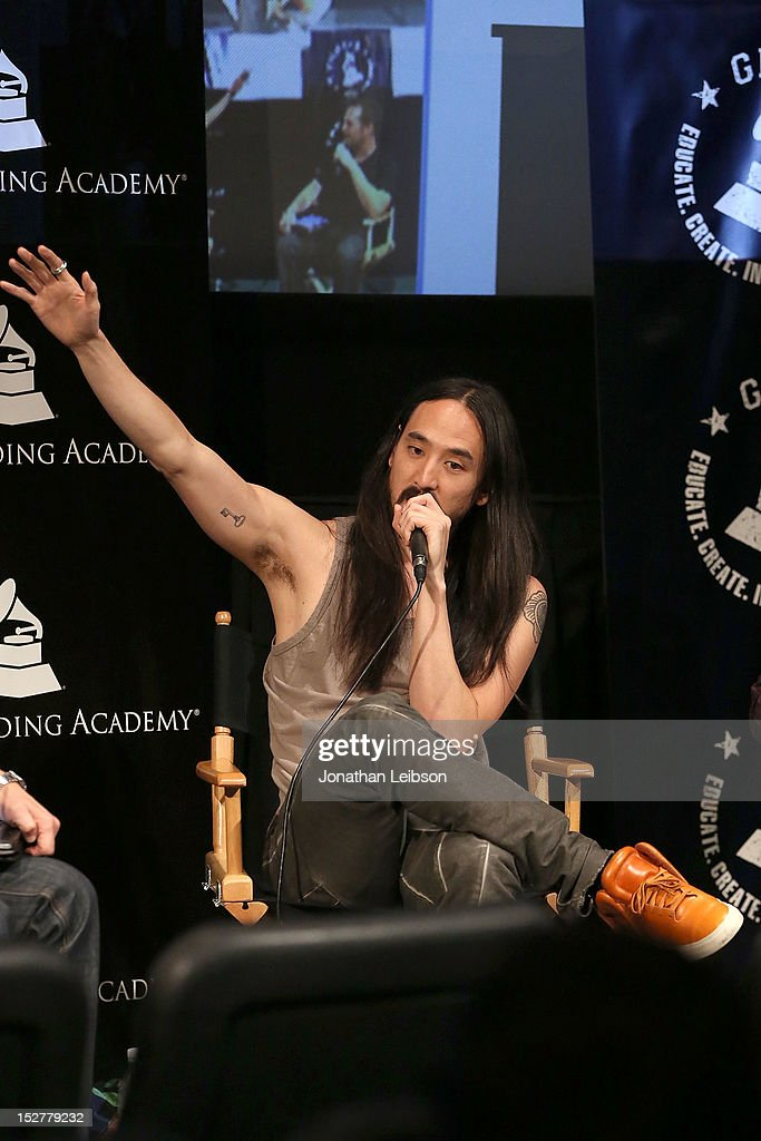<a gi-track='captionPersonalityLinkClicked' href=/galleries/search?phrase=Steve+Aoki&family=editorial&specificpeople=732001 ng-click='$event.stopPropagation()'>Steve Aoki</a> attends the GRAMMY U Los Angeles Presents Up Close And Personal With <a gi-track='captionPersonalityLinkClicked' href=/galleries/search?phrase=Steve+Aoki&family=editorial&specificpeople=732001 ng-click='$event.stopPropagation()'>Steve Aoki</a> And Kaskade at Los Angeles Film School on September 25, 2012 in Los Angeles, California.
